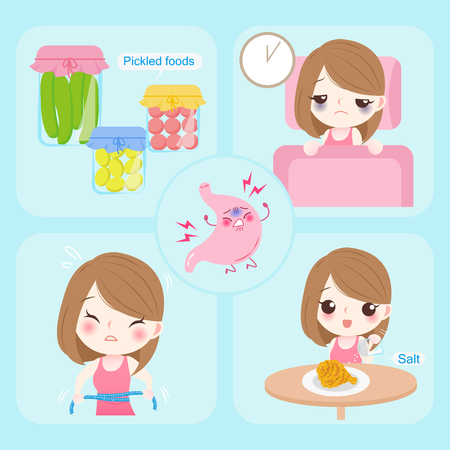 Woman with gastroesophageal reflux on the blue background Illustration