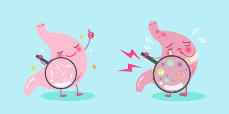 gastritis: Cute cartoon stomach with healthy concept on blue background