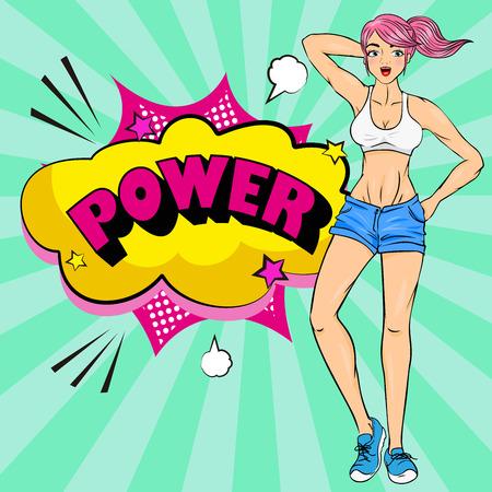 Pop of cartoon strong woman on the green background Illusztráció