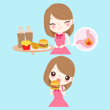 Woman with heartburn on the blue background