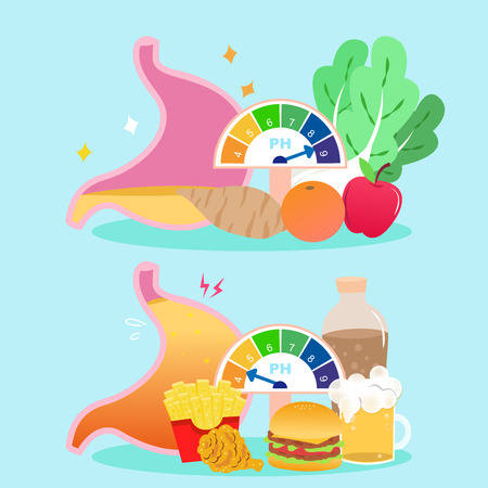 Cute cartoon stomach with healthy concept on blue background