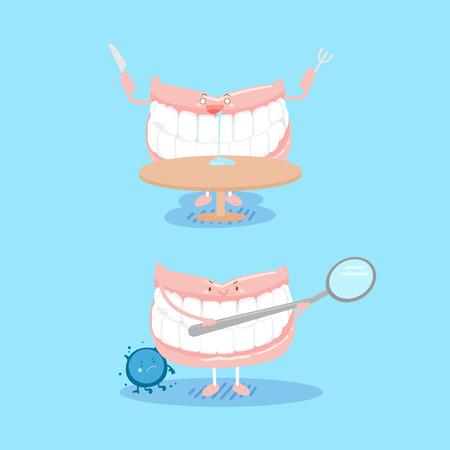 Cute Cartoon Zahnersatz für Ihr gesundes Konzept Standard-Bild - 83742855