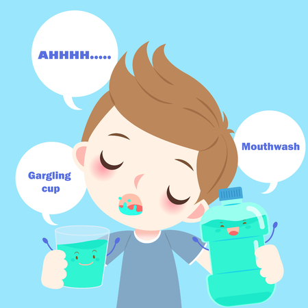 Cartoon boy with mouthwash on the blue background Stock Vector - 83742859