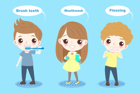Cartoon child with tooth health concept on the blue background Illustration