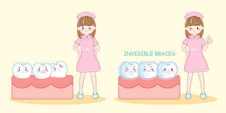 Cute cartoon woman dentist with tooth wear brace on blue background Illustration