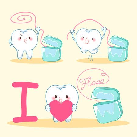 노란색 배경에 치실과 귀여운 만화 치아