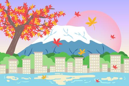 montañas caricatura: Cute dibujos animados fujisan concepto de viaje Vectores