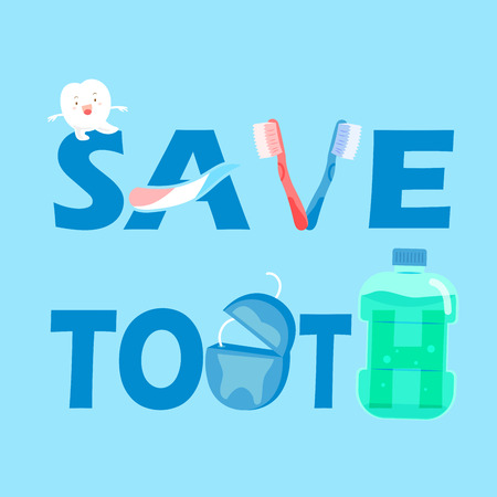 cute cartoon tooth with health concept on the blue background