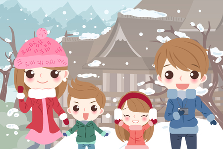 Happy cartoon family for your travel concept