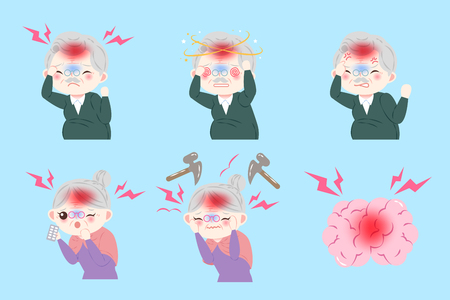 old peopele with head ache on the blue background Illustration