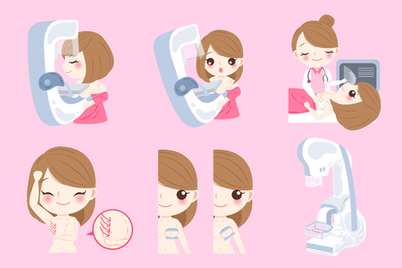 Woman doctor with breast cancer on the pink background Illustration