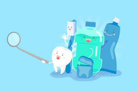 tooth with health concept on the blue background