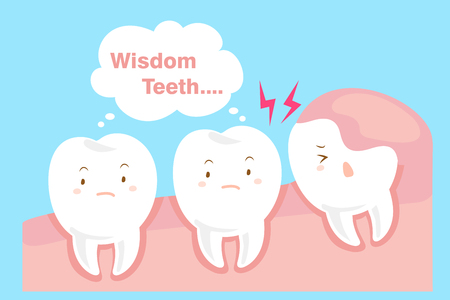 cute cartoon wisdom teeth with health concept Ilustração