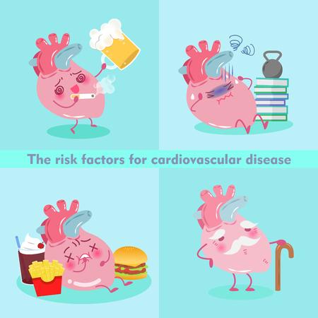 heart disease: Cute cartoon heart on the green background Illustration