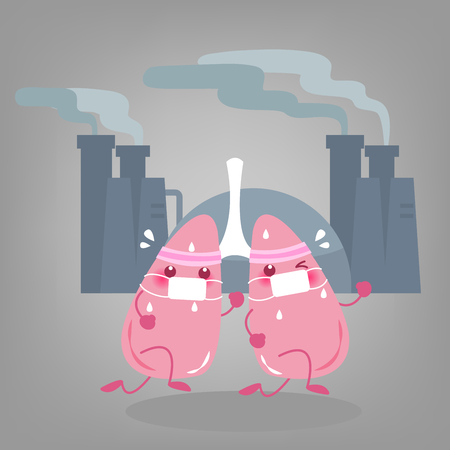 Two cartoon lung wear mask in front of the factory Illustration