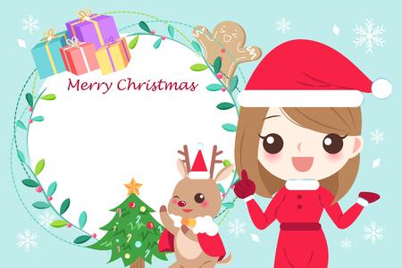 woman with merry christmas on the blue background Illusztráció