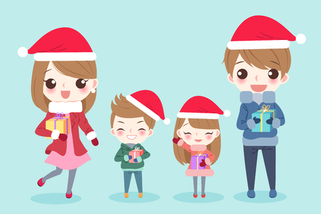 Cartoon family with merry christmas on the green background Vectores