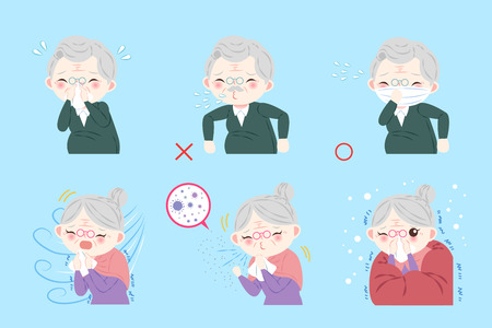 Old people with health concept on blue background Ilustração