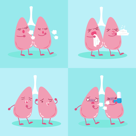 respiration: Lung with health concept on the blue background Illustration