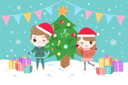 arboles caricatura: Cartoon children with merry christmas on the blue background