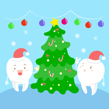 arboles caricatura: Tooth with christmas  on the blue background Vectores