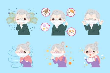 Old people with allergy problem on the blue background