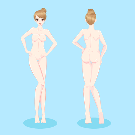 Beauty nude woman on the blue background Illustration
