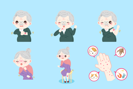 itchy: Old people with allergy on the blue background Illustration