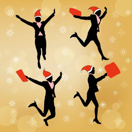 silhouette of business woman with merry christmas