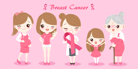 woman with breast cancer prevention on the pink background