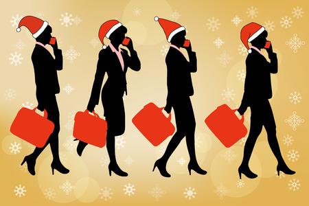 iluminado a contraluz: silueta de mujer de negocios con Feliz Navidad Vectores