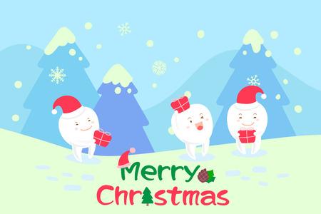 diente con feliz navidad en el fondo azul