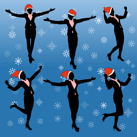 raise hand: Silhouette of business woman feel excited with merry christmas