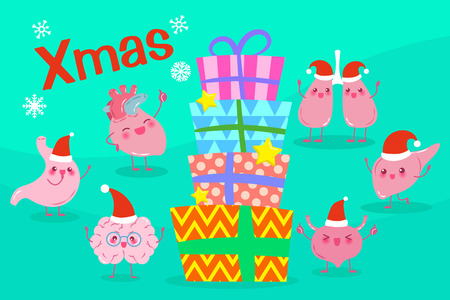 Organ with merry Christmas on the blue background Illustration
