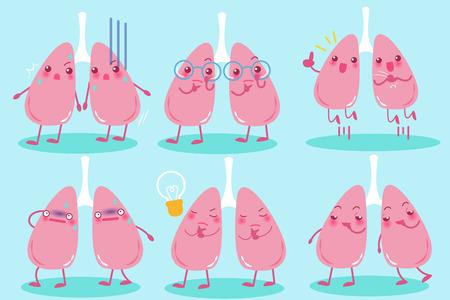 Cute cartoon lung. Illustration