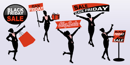 holiday shopping: silhouette of business woman with black friday Illustration