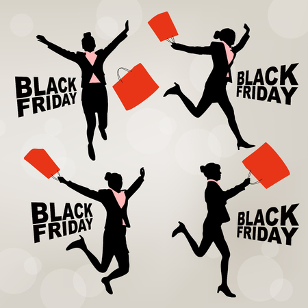 silhouette of business woman with black friday Illustration