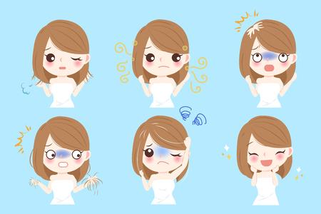 Mujer con problema del pelo antes y después