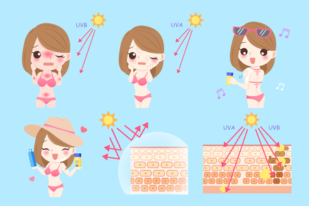 cute cartoon woman with sunscreen before and after Vector Illustration
