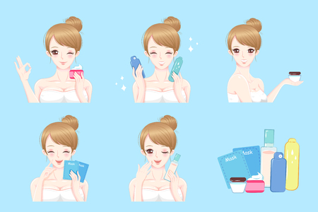 woman with skin care on the blue background