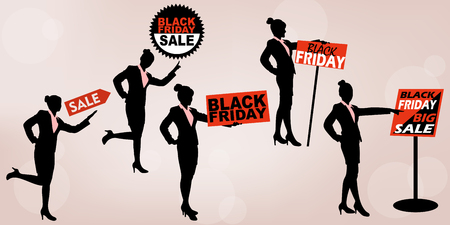 silhouette of business woman with black friday and show something on white background