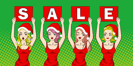 holiday shopping: cartoon pop of woman with merry christmas on the green background