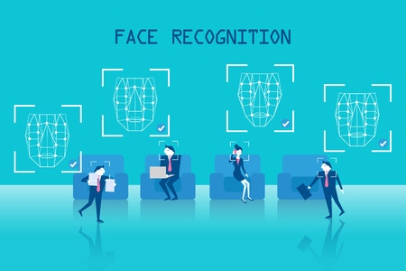 Business people with face recognition on the blue background