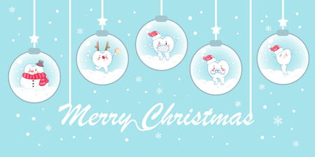 Teeth with christmas on snowglobe on the blue background Illustration