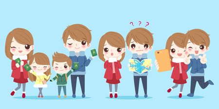 Cute cartoon family with travel concept on the blue background
