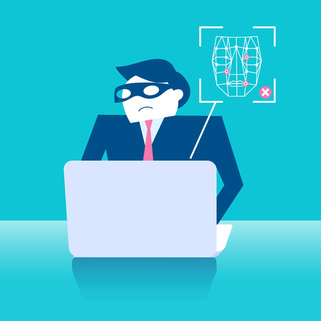 business man with face recognition on the blue background Illustration