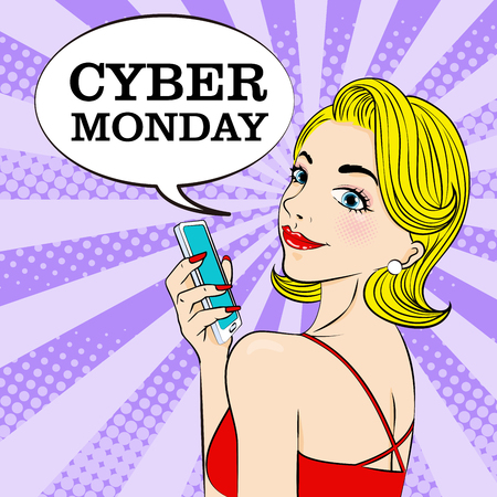 woman with cyber monday on the blue background