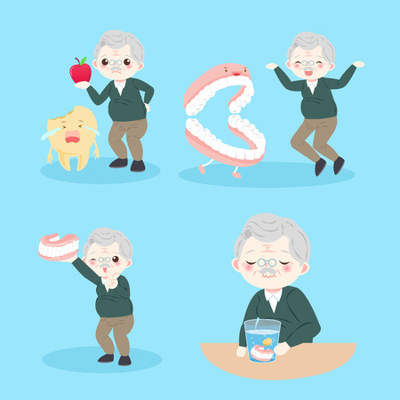vieil homme avec des problèmes de dents sur le fond bleu