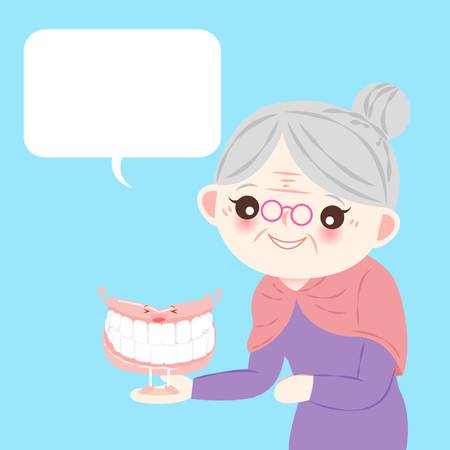 old woman with denture on the blue background Illustration