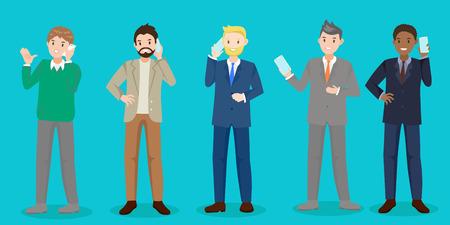 cartoon business man talk phone on blue background Illustration